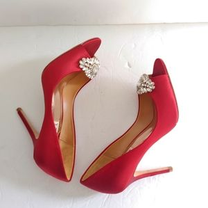 Badgley Mischka. Open toe red heels.